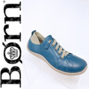 Women's Born Althea Blue Leather Slip On Sneakers